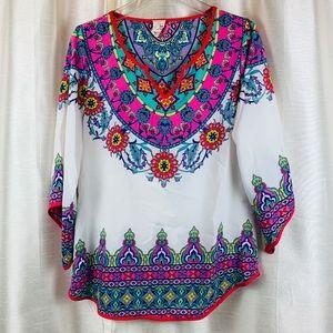 Pink Owl Boho Style Scarf Sleeve Tunic